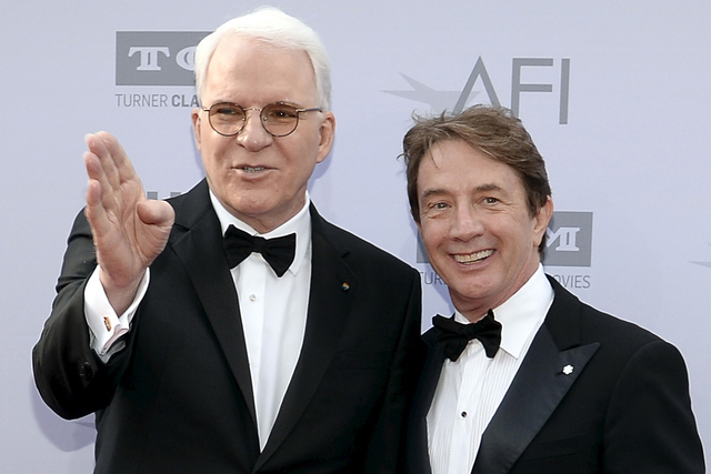 Honoree Steve Martin (L) and actor and comedian Martin Short pose at the American Film Institute's 43rd Life Achievement Award Gala honoring actor Steve Martin in Los Angeles, California June 4, 2 ...