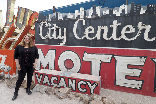 Maggie Zakri, collections manager, poses next to a Betty Willis-designed sign at the Neon Museum, 770 Las Vegas Blvd. North, in Las Vegas, Friday, March 11, 2016. Jerry Henkel/Las Vegas Review-Journal