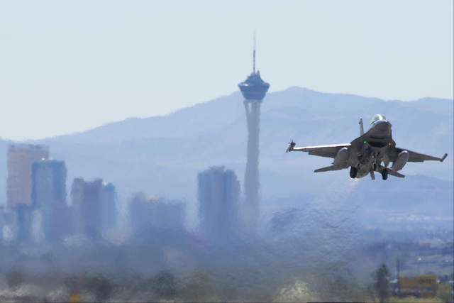 An F-16 takes off during the Red Flag air combat exercise at Nellis Air Force Base on Tuesday, March 8, 2016, in Las Vegas. Benjamin Hager/Las Vegas Review-Journal @benjaminhphoto