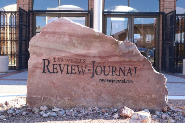 The sign is seen at the front of the Review-Journal building on Wednesday Dec. 16, 2015 in Las Vegas. (Bizuayehu Tesfaye/Las Vegas Review-Journal Follow @bizutesfaye)