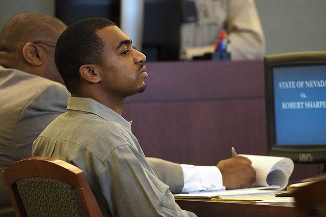 Robert Sharpe III, sits during opening statements in his trial at the Regional Justice Center in Las Vegas, Monday, Feb. 7, 2016. Jerry Henkel/Las Vegas Review-Journal.