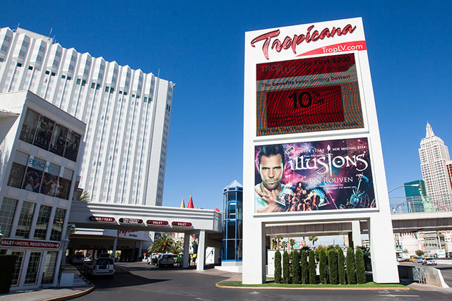 A sign promoting Jan Rouven's show is seen outside of the Tropicana hotel-casino in this photo from April 29, 2015. The show was closed down this week after Rouven's arrest on child pornography ch ...