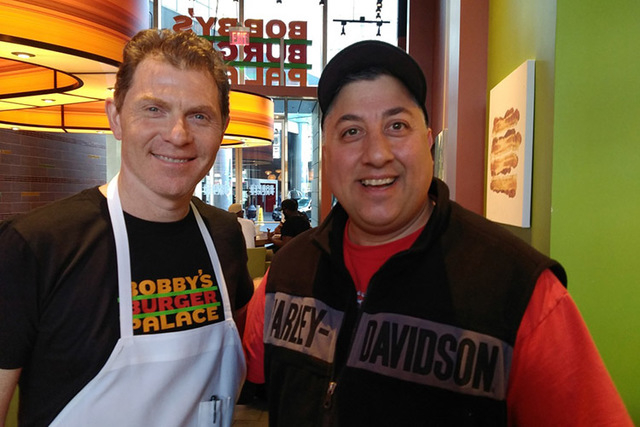 Bobby flay shows why hes a fan favorite las vegas review journal chef bobby flay meets superfan ralph carbone on wednesday at bobbys burger palace in las vegas m4hsunfo