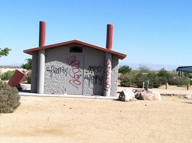 Graffiti on a restroom at the Clark County Wetlands Park is shown in this undated photo. Police and elected officials announced a crackdown on crime as they prepare for higher use of the park duri ...