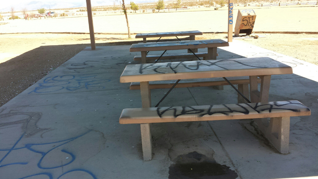 Picnic tables scrawled with graffiti are shown at the Clark County Wetlands Park is shown in this undated photo. Police and elected officials announced a crackdown on crime as they prepare for hig ...