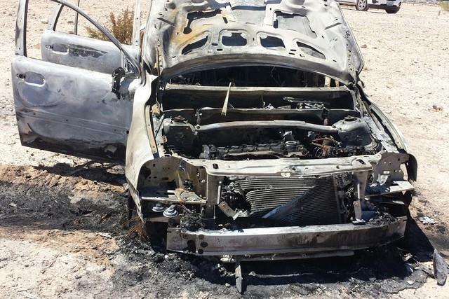 A burned-out vehicle is shown at the Clark County Wetlands Park is shown in this undated photo. Police and elected officials announced a crackdown on crime as they prepare for higher use of the pa ...
