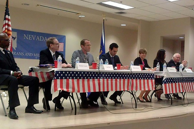 Susie Lee, third from right, takes part in a debate with 4th Congressional District candidates, April 14, 2016. Others are Rodney Smith, left, Brandon Casutt, Dan Rolle, Ruben Kihuen, Lucy Flores  ...