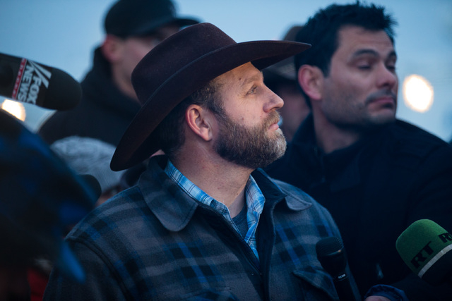 Ammon Bundy speaks with reporters after meeting with Harney County Sheriff Dave Ward, at the Malheur National Wildlife Refuge headquarters near Burns, Ore. on Thursday, Jan. 7, 2016. (Chase Steven ...