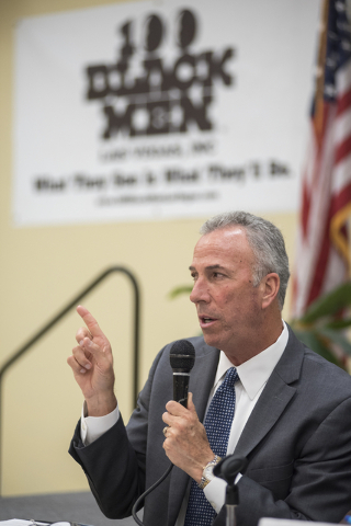 District Attorney Steve Wolfson speaks during 100 Black Men of Las Vegas Law Enforcement/Criminal Justice town hall meeting inside the 100 Academy of Excellence charter school in North Las Vegas o ...