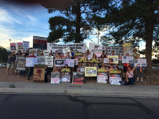 Las Vegas protesters and volunteers from CompassionWorks International demonstrate against the circus. The organization is raising awareness about animal cruelty. Special to View