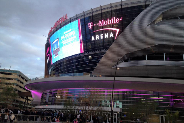 "Crowds file into T-Mobile Arena for a dress rehearsal ""stress test"" on Thursday, March 31, 2016, ahead of the arena's hard opening on April 6. Employees of MGM and construction workers who helped  ..."