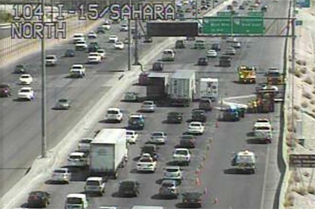 Crash on northbound Interstate 15 near Sahara Avenue, Tuesday, April 19, 2016. (RTC FAST Cameras)