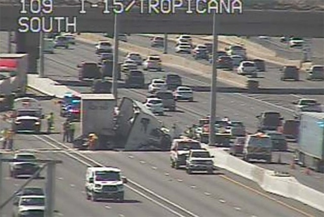 Semitrailer crash on northbound Interstate 15 near Tropicana Avenue, Tuesday, April 19, 2016. (RTC FAST Cameras)