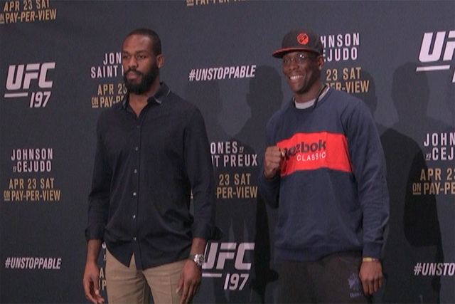 UFC 197 competitors square off at media day in Las Vegas ahead of Apr. 23rd's fight card. (Heidi Fang/Las Vegas Review-Journal)