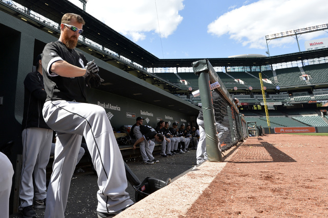 Apr 29, 2015; Baltimore, MD, USA; Chicago White Sox designated hitter Adam LaRoche (25) stands at the top of the dugout during the fourth inning against the Baltimore Orioles at Oriole Park at Cam ...