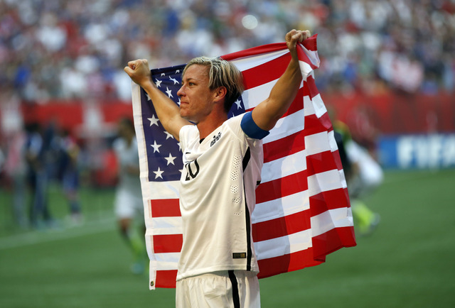 Jul 5, 2015; Vancouver, British Columbia, CAN; United States forward Abby Wambach (20) celebrates after defeating Japan in the final of the FIFA 2015 Women's World Cup at BC Place Stadium. United  ...