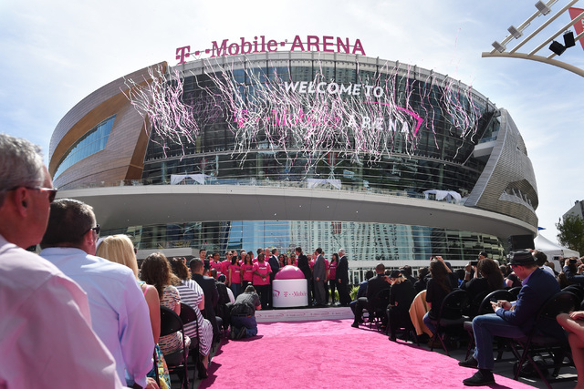Confetti is shot skyward during the grand opening of MGM Resorts  International's T-Mobile Arena Wednesday, April 6, 2016. Sam Morris/Las Vegas News Bureau