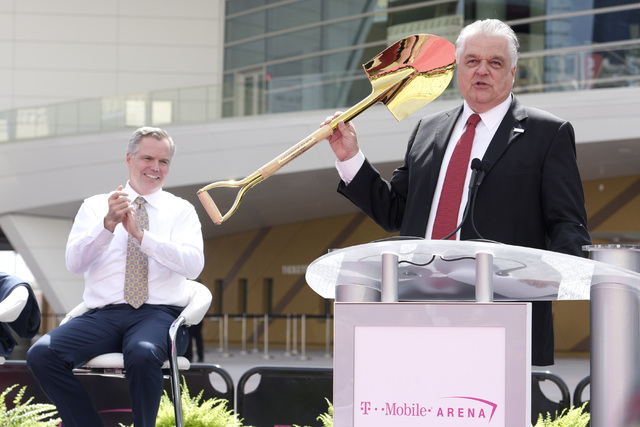 Clark County Commission Steve Sisolak hold the shovel he used for the arena ground breaking during the grand opening of MGM Resorts  International's T-Mobile Arena Wednesday, April 6, 2016. Sam Mo ...