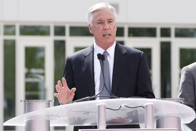 President and CEO of Toshiba Global Commerce Solutions Scott Maccabe speaks during the grand opening of MGM Resorts  International's T-Mobile Arena Wednesday, April 6, 2016. Sam Morris/Las Vegas N ...