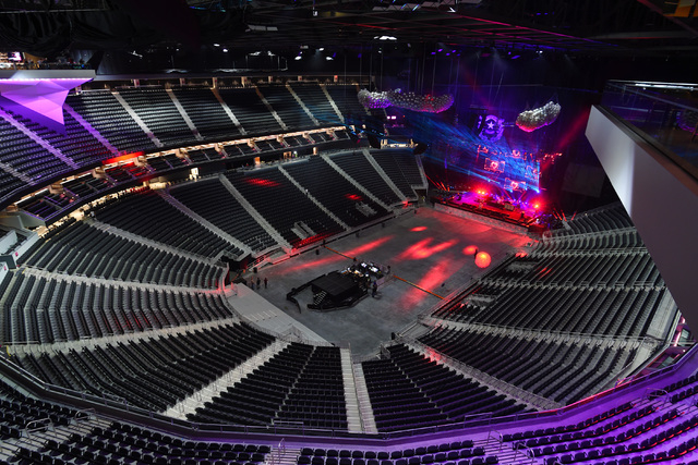 The arena is seen set up for its first concert during the grand opening of MGM Resorts International's T-Mobile Arena Wednesday, April 6, 2016. Sam Morris/Las Vegas News Bureau