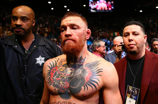 March 5, 2016; Las Vegas, NV, USA; Conor McGregor reacts following his loss against Nate Diaz during UFC 196 at MGM Grand Garden Arena. (Mark J. Rebilas/USA Today Sports)
