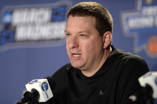Arkansas Little Rock Trojans head coach Chris Beard speaks to the media during a practice day before the first round of the NCAA men's college basketball tournament at Pepsi Center in Denver. (Ron ...