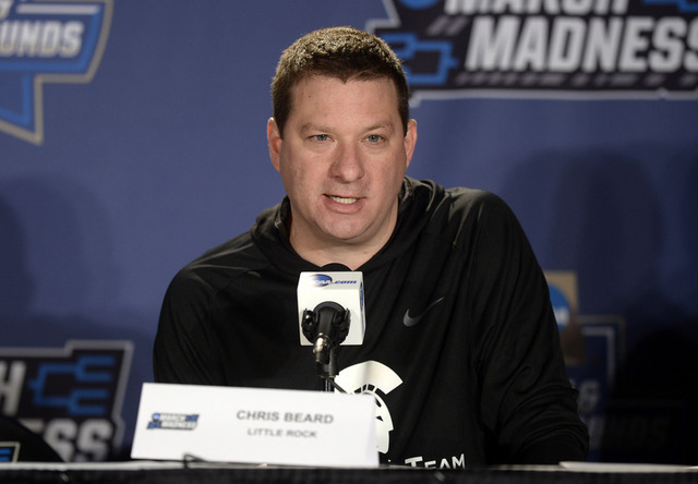 Arkansas Little Rock Trojans head coach Chris Beard speaks to the media during a practice day before the first round of the NCAA men's college basketball tournament at Pepsi Center in Denver, Marc ...