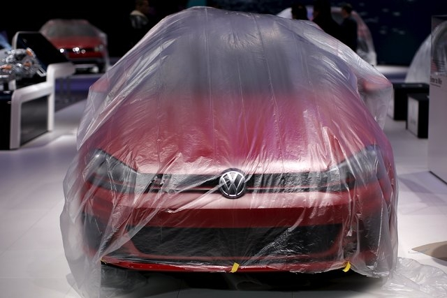 A Volkswagen is seen covered in protective plastic ahead of the New York International Auto Show at the Jacob Javits Convention Center in New York, March 22, 2016. (Mike Segar/Reuters)