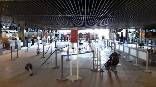 Damage is seen inside the departure terminal following the March 22, 2016, bombing at Zaventem Airport in Brussels, Belgium. (Het Nieuwsblad via Reuters)