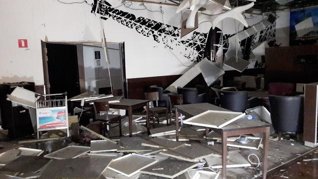 Damage is seen inside the departure terminal following the March 22, 2016, bombing at Zaventem Airport, in Brussels, Belgium. (Het Nieuwsblad via Reuters)