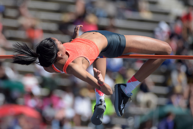 Apr 16, 2016; Norwalk, CA, USA; Vashti Cunningham wins the womens high jump at 6-4 (1.93m) during the 58th Mt. San Antonio College Relays at Cerritos College. Mandatory Credit: Kirby Lee-USA TODAY ...