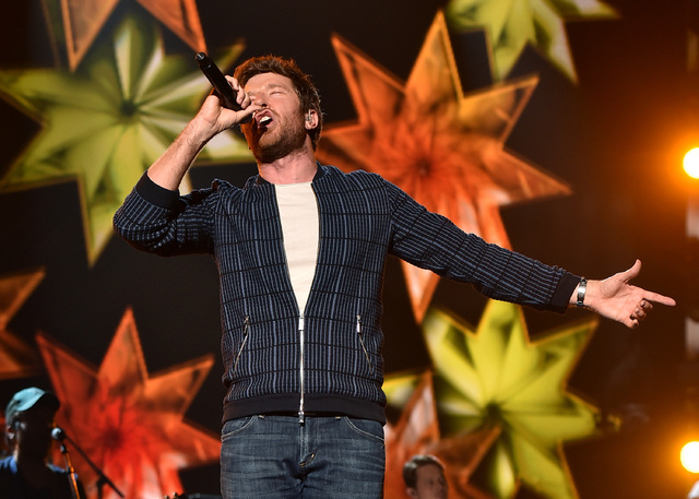 Singer Brett Eldredge rehearses onstage during the 51st Academy of Country Music Awards at MGM Grand Garden Arena. (Kevin Winter/Getty Images)