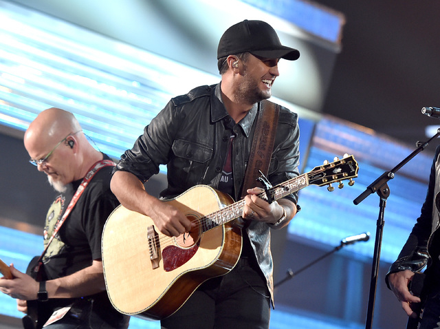 Musician Luke Bryan rehearses onstage during the 51st Academy of Country Music Awards at MGM Grand Garden Arena. (Kevin Winter/Getty Images)