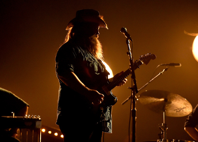 Musician Chris Stapleton rehearses onstage during the 51st Academy of Country Music Awards at MGM Grand Garden Arena. (Kevin Winter/Getty Images)