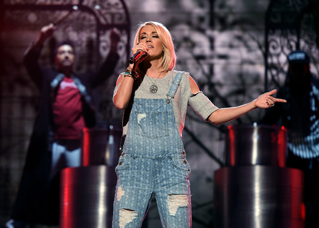 Singer Carrie Underwood rehearses onstage during the 51st Academy of Country Music Awards at MGM Grand Garden Arena. (Kevin Winter/Getty Images)