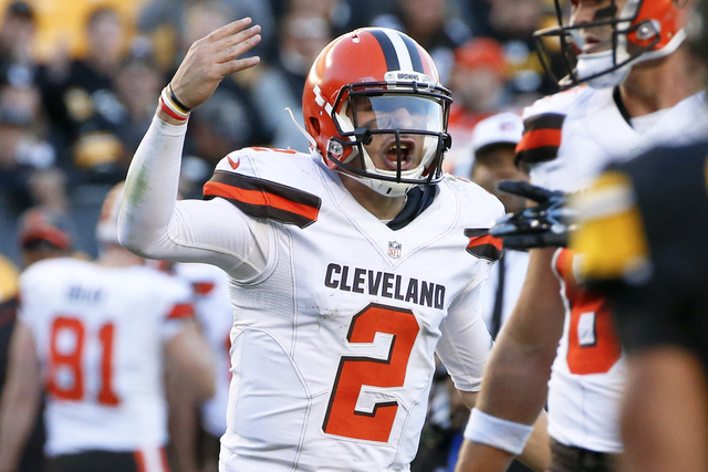 In this Nov. 15, 2015, file photo, Cleveland Browns quarterback Johnny Manziel (2) plays during an NFL football game against the Pittsburgh Steelers, in Pittsburgh. The Browns have released troubl ...