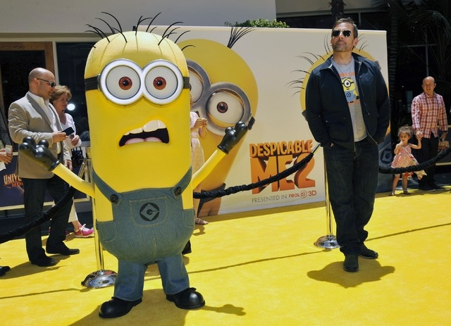 "Steve Carell appears on with a minion character from ""Despicable Me 2"" in Universal City, Calif., June 22, 2013. Google added a button to its email service for April Fool's Day that allowed users  ..."