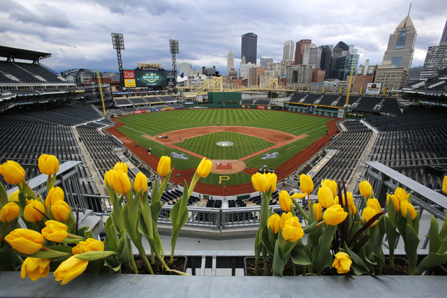 Tulips frame the field at PNC Park and the skyline of downtown Pittsburgh. The Pittsburgh Pirates open the 2016 Major League Baseball season, Sunday, April 3. (AP Photo/Gene J. Puskar)