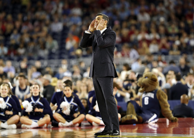 Villanova head coach Jay Wright yells during the first half of the NCAA Final Four tournament college basketball semifinal game against Oklahoma, Saturday, April 2, 2016, in Houston. (AP Photo/Eri ...