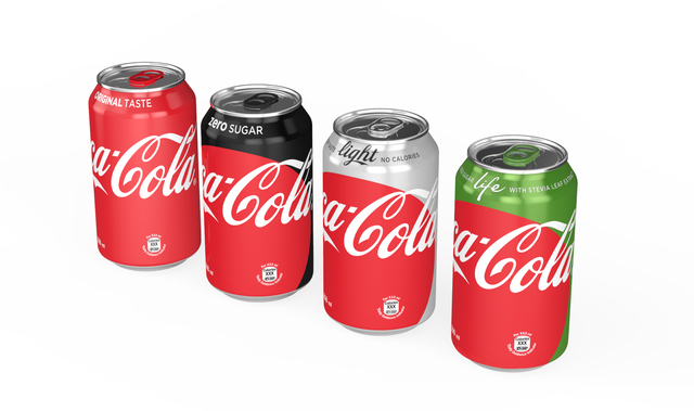 This photo provided by The Coca-Cola Company shows the new appearance of Coca-Cola cans. Coca-Cola says it is giving cans and bottles of its flagship sodas a makeover, with plans to unify the appe ...
