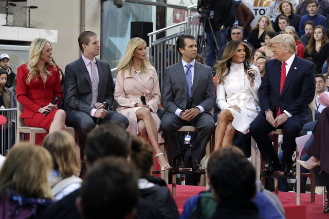 """Republican presidential candidate Donald Trump, right, appears with family members on the NBC """"Today"""" television program, in New York, Thursday, April 21, 2016. From left are: daughter Tiffany, so ..."""