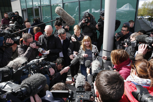 Chair of the Hillsborough Families Support Group, Margaret Aspinall, speaks to the media outside the Hillsborough Inquest in Warrington, England, Tuesday April 26, 2016. The 96 Liverpool soccer fa ...