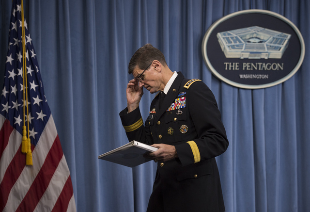 Army Gen. Joseph Votel, Commander of U.S. Central Command, leaves after briefing reporters on the release of the investigation into the U.S. airstrike on the Doctors With Borders trauma center in  ...
