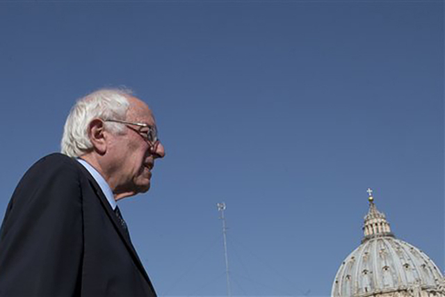 US presidential candidate Bernie Sanders arrives on a hotel terrace near the Vatican to meet reporters, Saturday, April 16, 2016.  (Alessandra Tarantino/AP Photo)