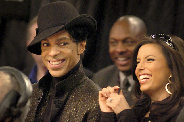 Performer Prince and actress Eva Longoria share some laughs during the NBA All-Star game Saturday, February 18, 2007. (Photo/ Las Vegas News Bureau, Brian Jones)