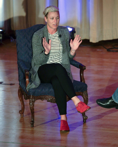 Abby Wambach, American soccer player, coach, double Olympic gold medalist, FIFA Women's World Cup champion and 2012 FIFA World Player of the Year speaks to students in Memorial Hall on the Univers ...
