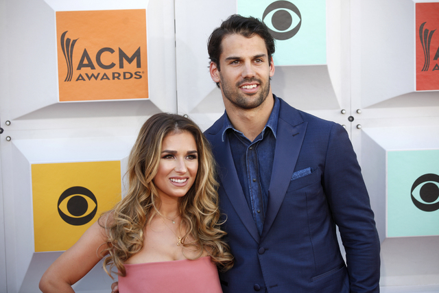 Jessie James Decker and husband Erik Decker walk the red carpet at the 51st Academy of Country Music Awards Sunday, April 3, 2016, at the MGM Grand in Las Vegas.  (Rachel Aston/Las Vegas Review-Jo ...