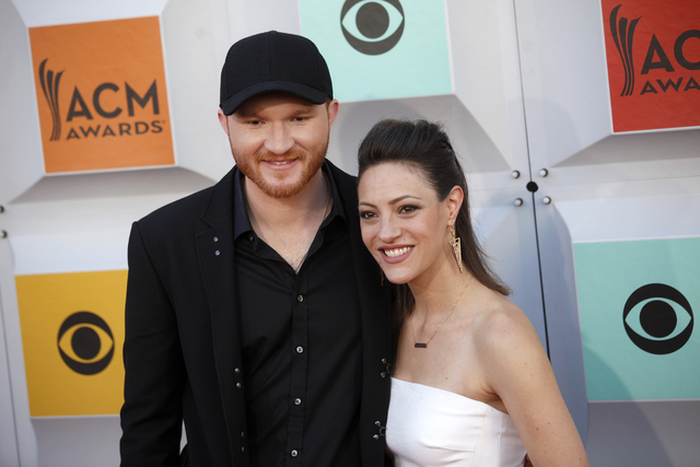 Eric Paslay and wife Natalie Harker walk the red carpet at the 51st Academy of Country Music Awards Sunday, April 3, 2016, at the MGM Grand in Las Vegas.  (Rachel Aston/Las Vegas Review-Journal) F ...