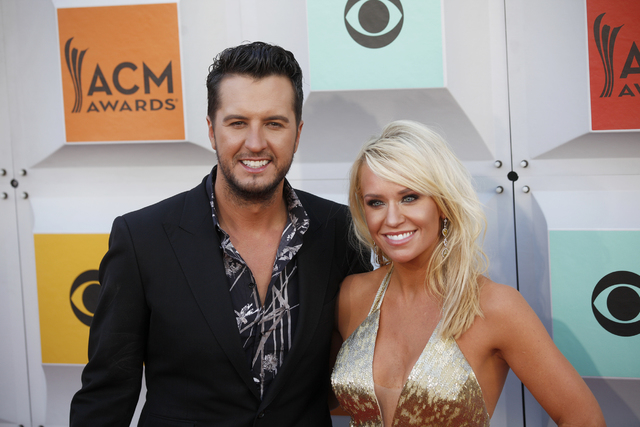 Luke Bryan and wife Caroline Boyer walk the red carpet at the 51st Academy of Country Music Awards Sunday, April 3, 2016, at the MGM Grand in Las Vegas.  (Rachel Aston/Las Vegas Review-Journal) Fo ...
