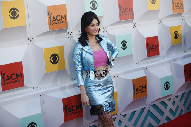 Katy Perry walks the red carpet at the 51st Academy of Country Music Awards Sunday, April 3, 2016, at the MGM Grand in Las Vegas. (Rachel Aston/Las Vegas Review-Journal) Follow @rookie__rae